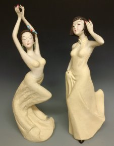 Chinese Figurines Dolls Exclusive Masterpiece Ceramic Women Sculpture PAIR