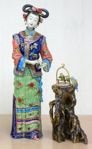 Chinese Oriental Ceramic / Porcelain Lady Figurine Joyful Bird