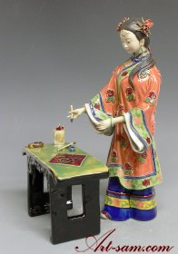 Chinese Oriental Woman Porcelain / Ceramic Figurine Painting