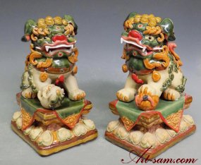 Colour Glazed Feng Shui Foo Dog Ceramic Statue