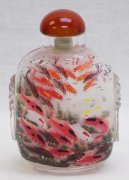 Exclusive Master chinese Inside Hand Painted Snuff Bottle Carps GoldFish
