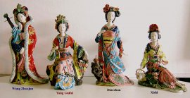 Figuritas de porcelana china de Lady chino antiguo