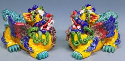 Koji Pottery - Chinese Guard Lions or Foo Dogs Ceramic Figurine