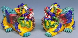 Koji Wucai Pottery - Chinese Guard Lions or Foo Dogs Ceramic Figurine Statue