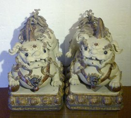 "14"" PAIR Chinese Feng Shui Foo Dog Dragon Lion Statue Figurine"