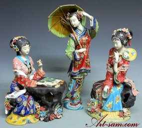 Chinese Ceramic Figurine Statue Porcelain Doll 3 Sister Set Master Collection