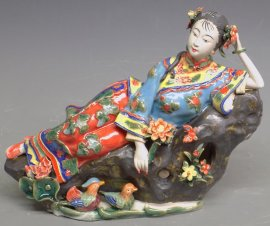 Chinese Porcelain Dolls Figurine - Relaxing Woman