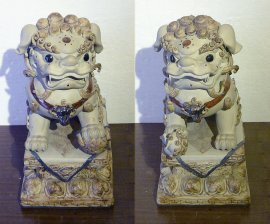 "Foo Dog Lion Ceramic Statue Chinese Fengshui 14"" Collection"