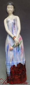 LARGE Masterpiece Oriental Chinese Beautiful Woman Ceramic Porcelain Figurine