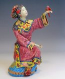 Lady Bird - Shiwan Ceramic Lady Figurine
