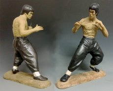 Large Bruce Lee Chinese Kung Fu Fighting Martial Art Nunchaku Statue PAIR