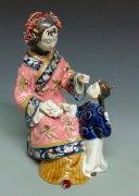 Porcelain Doll Figurine Statue Chinese Oriental Mother Child Kid