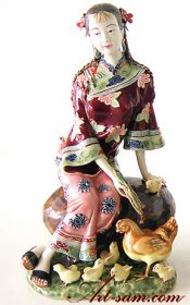 Shiwan Chinese Oriental Lady Porcelain Figurine