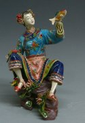 Ceramic Figurine Statue Oriental Chinese Fishing Woman