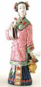 Chinese Ceramic Lady Figurine Birthday Celebration