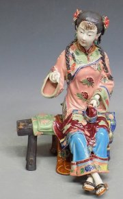 Chinese Ceramic Porcelain Statue Figure Oriental Lady Girl Sewing