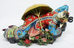 Chinese Joyful Lady - Shiwan Chinese Ceramic Lady Figurine
