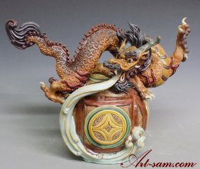 "Chinese Zodiac Dragon Animal Ceramic Figurine Statue 18"" Master Piece"