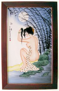 2004 Old unique hand painted nude bathing lady porcelain hanging frame 24""