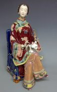 Ceramic Figurine Statue Oriental Chinese Woman With Lovely Cat