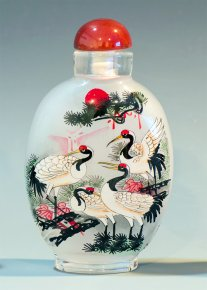 Cranes in the Wild - Inside Painted Snuff Bottle