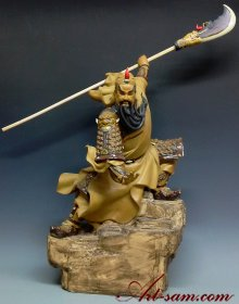 Guan-Gong Masterpiece Chinese Ceramic Figurine Statue Asian Warrior