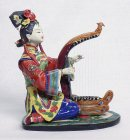 Harp Musician Lady - Shiwan Chinese Ceramic Lady Figurine