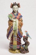 NEW Master piece Chinese Ceramic Woman Figurine Birds Singing