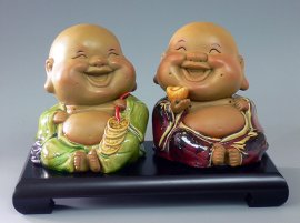 Shiwan Ceramic Sculpture Statue Happy Fortune Kids Child