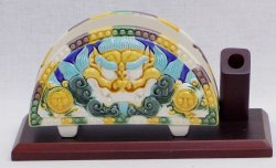 "6"" Sancai Tang Tri-Color Ceramic Name Card Pen holder"