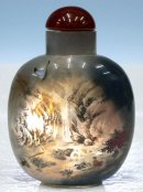 Agate Snuff Bottle - Inside Painting Waterfall Landscape