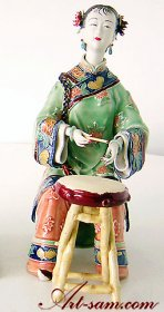 Ancient Chinese Lady Musician Ceramic Porcelain Dolls Figurine