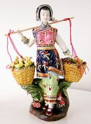 Ancient Ethnic Chinese Lady Shiwan Ceramic Lady Figurine Hens & Chicks