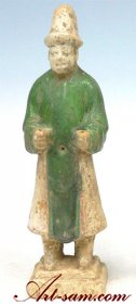 Antique Glazed Pottery Chinese Ming Dynasty Tomb Attendant A.D. 1369 - 1644