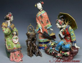 Ceramic Porcelain Figurine Dolls Chinese Oriental Girls Master Pieces Three Sist