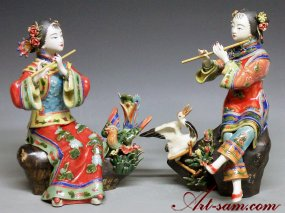 Chinese Ceramic / Porcelain Dolls Figurines Oriental Women Sister PAIR