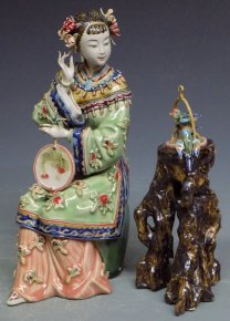 Chinese Oriental Woman Porcelain / Ceramic Figurine Joyful Bird