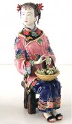 Delicate Oriental Chinese Ceramic Figurine Sweet Lady