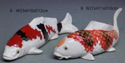 Feng Shui Koi Fish Sculpture, Ceramic Porcelain Koi Fish PAIR