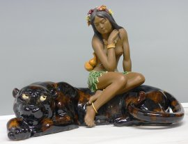 Leopard Nude Girl Masterpiece Collection Chinese Porcelain Ceramic Statue