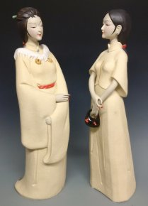 PAIR Chinese Figurines Dolls Exclusive Masterpiece Ceramic Sculpture