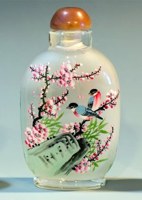 Sparrow Couple on Peach Blossom - Inside Hand Painted Snuff Bott