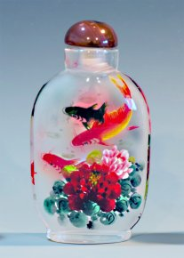 Black & Gold Fishes - Inside Painted Snuff Bottles