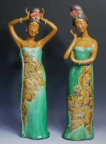 Ceramic Figurine Ancient Chinese Women Dancing 2/set