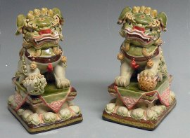Chinese Feng Shui Foo Dog Color Glazed Ceramic Statue Large Heav
