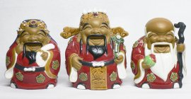 Chinese Feng Shui Three Wise God Lucky Immortals Ceramic Statue