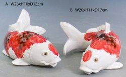 Good Fortune Lucky Feng Shui Koi Fish Porcelain Ceramic Wall Mounted Oranment