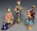 Oriental Family Asian Porcelain Ceramic Figurine Mother Sister Infant 3/Set
