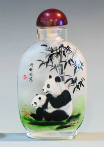 Panda Mum and Baby under Bamboo Tree - Inside Painted Snuff Bott