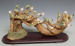 Porcelain Ceramic Statue Birds & Flowers Seasons Greetings